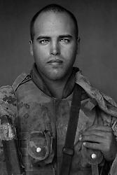 Lcpl. Joseph Thompson, 22, Edgerton, Ohio, 1st Platoon, Kilo Co., 3rd Battalion 1st Marines, 1st Marine Division, United States Marine Corps, at the company's firm base in Haditha, Iraq on Thursday Oct. 27, 2005.