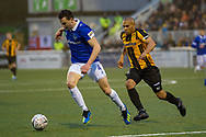 Oldham Athletic defender George Edmundson (4) and Maidstone United forward Elliott Romain (9) during the The FA Cup match between Maidstone United and Oldham Athletic at the Gallagher Stadium, Maidstone, United Kingdom on 1 December 2018. Photo by Martin Cole