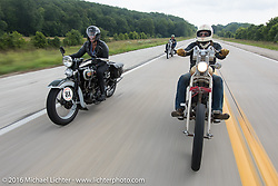 """Sharon Jacobs riding her 1936 Harley-Davidson VLH along with """"Chopper Dude"""" Sean Duggan on his 1936 Harley-Davidson Knucklehead chopper during Stage 6 of the Motorcycle Cannonball Cross-Country Endurance Run, which on this day ran from Cape Girardeau to Sedalia, MO., USA. Wednesday, September 10, 2014.  Photography ©2014 Michael Lichter."""