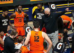 Feb 25, 2021; Berkeley, California, USA; Oregon State Beavers head coach Wayne Tinkle chastises his team during a timeout in the first half of an NCAA college basketball game against the California Golden Bears at Haas Pavilion. Mandatory Credit: D. Ross Cameron-USA TODAY Sports