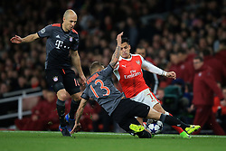 7 March 2017 - UEFA Champions League - (Round of 16) - Arsenal v Bayern Munich - Alexis Sanchez of Arsenal in action with Arjen Robben and Rafinha of Bayern Munich - Photo: Marc Atkins / Offside.