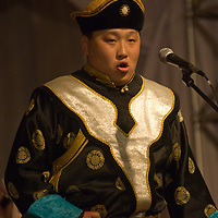 A Mongolian throat singer performs at a concert in Ulaanbaatar.