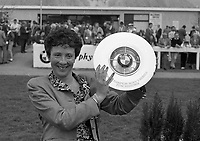Mrs Catherine Shubotham, Foxrock, Dublin in the winners enclosure with the Trophy that her Bay Colt Vestris Abu won in the BMW Championship Novice EBF Hurdle at Punchestown, 24/04/1990 (Part of the Independent Newspapers Ireland/NLI Collection).
