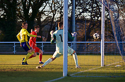 BANGOR, WALES - Saturday, November 17, 2018: Wales' Luke Jephcott sees his shot hit the post during the UEFA Under-19 Championship 2019 Qualifying Group 4 match between Sweden and Wales at the Nantporth Stadium. (Pic by Paul Greenwood/Propaganda)