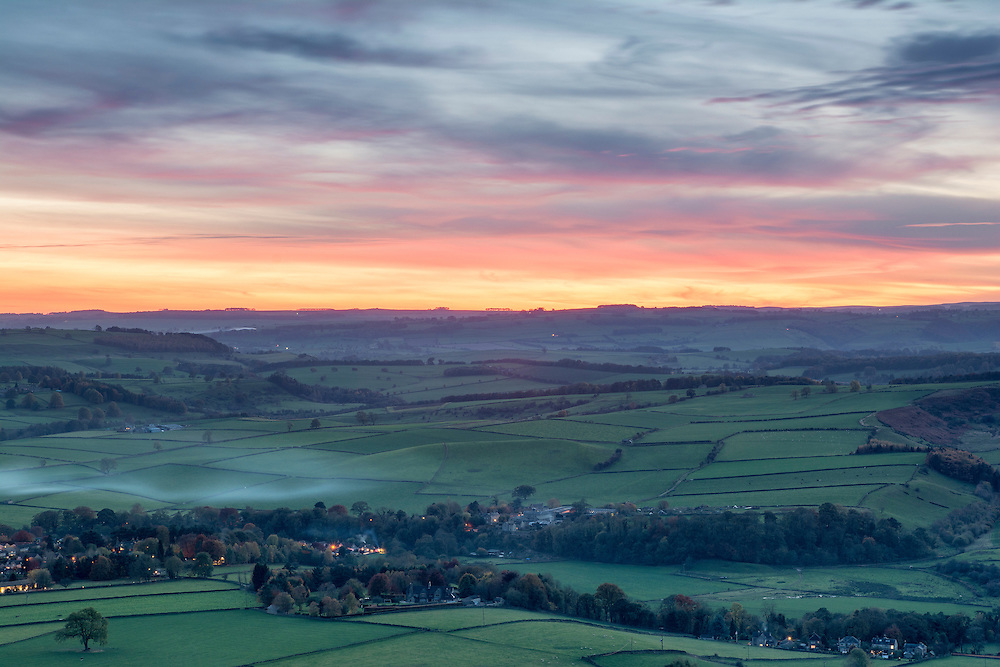 Taken just after sunset looking over the village of Baslow in the Peak District.