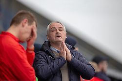 Falkirk's manager Ray McKinnon after another miss. Falkirk 1 v 1 Partick Thistle, Scottish Championship game played 16/3/2019 at The Falkirk Stadium.