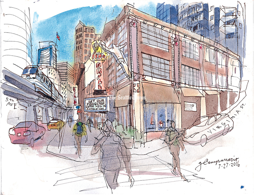 A proposed 47-story tower will take the place of the icon Grill. (Gabriel Campanario / The Seattle Times)