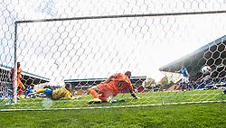 Kilmarock's keeper Conor Brennan can't stop St Johnstone's Murray Davidson goal.<br /> St Johnstone 1 v 2 Kilmarock, SPL game played at McDrarmid Park.