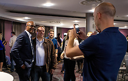 Kriss Akabusi poses for a picture with guests after his talk at the Bristol Sport Big Breakfast- Mandatory by-line: Robbie Stephenson/JMP - 29/07/2016 - FOOTBALL - Ashton Gate - Bristol, England - Bristol Sport Big Breakfast - Kriss Akabusi