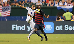 July 19, 2017 - Philadelphia, PA, USA - Philadelphia, PA - Wednesday July 19, 2017: Iván Mancia, Jozy Altidore during a 2017 Gold Cup match between the men's national teams of the United States (USA) and El Salvador (SLV) at Lincoln Financial Field. (Credit Image: © John Dorton/ISIPhotos via ZUMA Wire)