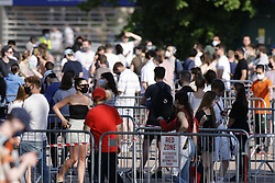 © Licensed to London News Pictures. 31/05/2021. London, UK. Queues form outside England's biggest vaccine centre at Twickenham Stadium in south west London after the centre said they will vaccinate anyone over the age of 18 today up to 7:30pm. . Photo credit: Peter Macdiarmid/LNP