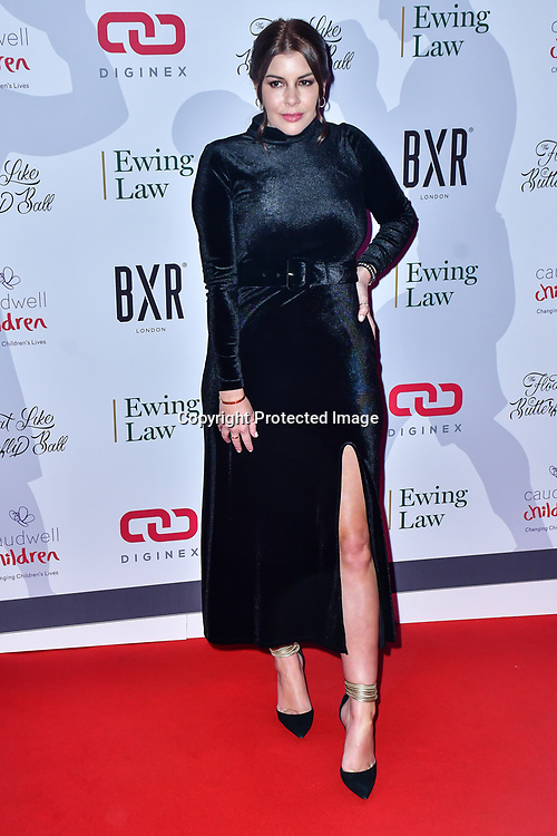 Imogen Thomas arrive at Float Like A Butterfly Ball for Caudwell Children Charity at Grosvenor House Hotel on 16 November 2019, London, UK.