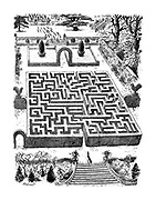 (A fox runs through a maze in the gounds of a stately home to escape a hunt)
