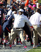 Oct. 22, 2011 - Charlottesville, Virginia - USA; Virginia Cavaliers coach Anthony Poindexter reacts during an NCAA football game at the Scott Stadium. NC State defeated Virginia 28-14. (Credit Image: © Andrew Shurtleff