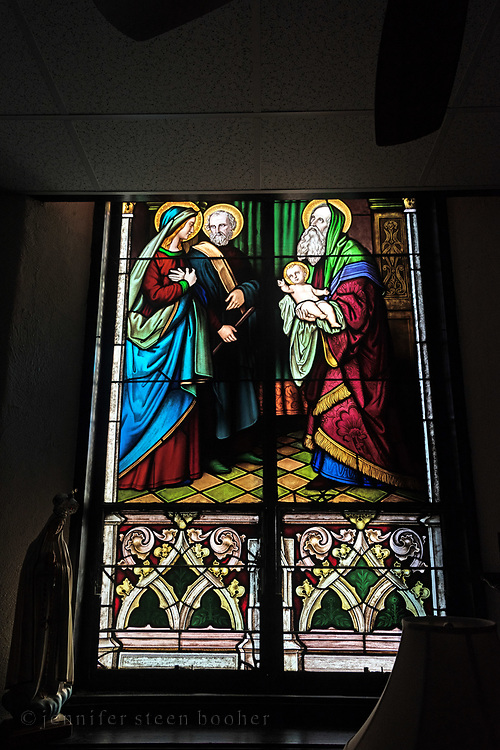 """Window 6 on plan. 55""""w x approx. 120""""h.<br /> <br /> Lower half of the window in the office.<br /> <br /> Holy Redeemer Catholic Church, Bar Harbor, Maine."""