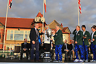 Nathanial Crosby (Captain USA) receives the Walker Cup from Tudor Williams (Captain Royal Liverpool) at the Walker Cup Award ceremony at Royal Liverpool Golf CLub, Hoylake, Cheshire, England. 08/09/2019.<br /> Picture Thos Caffrey / Golffile.ie<br /> <br /> All photo usage must carry mandatory copyright credit (© Golffile   Thos Caffrey)
