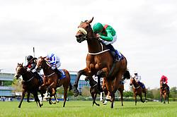 Hamariyna and Ronan Whelan win the Derrinstown Stud 1,000 Guineas Trial at Leopardstown Racecourse.