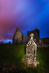 Burrishoole Friary at night, founded in 1470, near Westport, County Mayo, Ireland