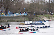 Putney. LONDON. GREAT BRITAIN. Both Crews racing.Oxford [on the right. Pre Boat race Fixture, Oxford University Women's Boat Club vs Molesey Boat Club, over the Championship Course, Putney to Mortlake.<br /> <br /> Sunday  28.02.2016<br /> <br /> [Mandatory Credit; Peter SPURRIER/Intersport Images]