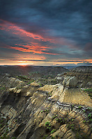 Sunset over badlands formations, Makoshika State Park Montana
