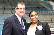 Opal Harrison of Milby High School, pictured with Houston ISD superintendent Terry Grier, is one of the district's Assistant Principals of the Year.