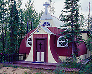 Our Lady of Grace Catholic Mission, chuch built from a quonset hut left over from the U.S. Army construction of the Alaska Highway in 1942, Beaver Creek, Yukon Territory, Canada.
