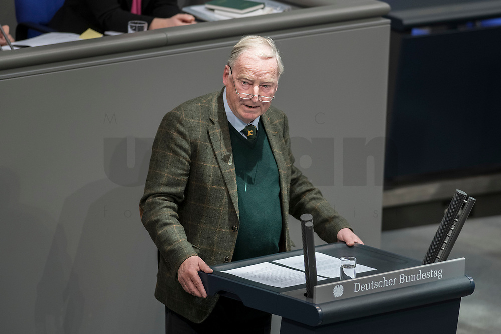 08 NOV 2018, BERLIN/GERMANY:<br /> Alexander Gauland, MdB, AfD Fraktionsvorsitzender, haelt eine Rede, Bundestagsdebatte zum sog. Global Compact fuer Migration, Plenum, Deutscher Bundestag<br /> IMAGE: 20181108-01-033<br /> KEYWORDS: Sitzung