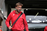Jurgen Klopp , the Liverpool manager arrives off the team bus. Barclays Premier league match, Swansea city v Liverpool  at the Liberty Stadium in Swansea, South Wales on Sunday 1st May 2016.<br /> pic by  Andrew Orchard, Andrew Orchard sports photography.