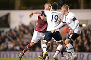 Winston Reid of West Ham United clashes with Mousa Dembele of Tottenham Hotspur. Barclays Premier league match, Tottenham Hotspur v West Ham Utd at White Hart Lane in London on Sunday 22nd November 2015.<br /> pic by John Patrick Fletcher, Andrew Orchard sports photography.