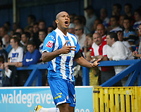 Photo: Chris Ratcliffe.<br />Colchester United v Queens Park Rangers. Coca Cola Championship. 16/09/2006.<br />Chris Iwelumo of Colchester celebrates scoring the first goal.