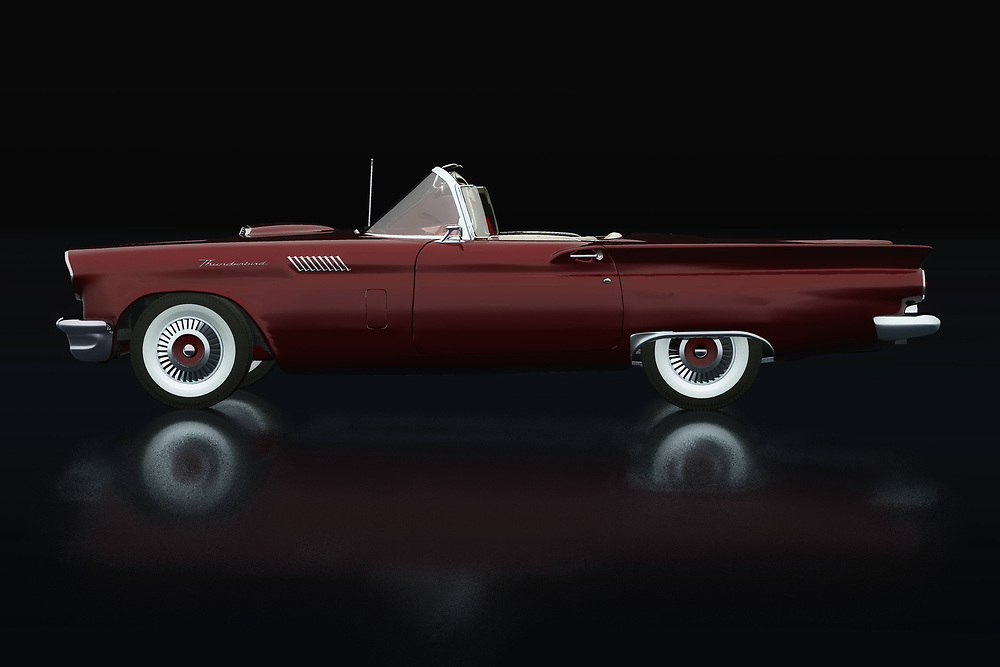 This Ford Thunderbird breathes the American culture that characterizes this time and for or opponents will have in common that there is pure nostalgia of this Ford Thunderbird Convertible from 1957.<br /> <br /> This painting of a 1957 Ford Thunderbird Convertible can be printed very large on different materials. -<br /> BUY THIS PRINT AT<br /> <br /> FINE ART AMERICA<br /> ENGLISH<br /> https://janke.pixels.com/featured/ford-thunderbird-convertible-lateral-view-jan-keteleer.html<br /> <br /> WADM / OH MY PRINTS<br /> DUTCH / FRENCH / GERMAN<br /> https://www.werkaandemuur.nl/nl/shopwerk/Ford-Thunderbird-Cabriolet-Zijaanzicht/738422/132?mediumId=11&size=75x50<br /> <br /> -