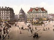 View of Karlsplatz, Munich, from the Carlsthor (Karlsthor) looking towards Central Railway Station, Bavaria, Germany,  1890-1905. Transport Tram Tramline Carriage Horse Pedestrian Pavement Road