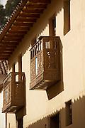 Traditionally made Spanish colonial balcony in Cusco, Peru, South America