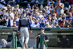 September 1, 2017 - Chicago, IL, USA - Fans applaud after Atlanta Braves starting pitcher Mike Foltynewicz (26) is taken out of the game during the seventh inning against the Chicago Cubs at Wrigley Field in Chicago on Friday, Sept. 1, 2017. The Cubs won, 2-0. (Credit Image: © Armando L. Sanchez/TNS via ZUMA Wire)
