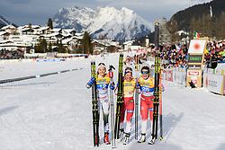 February 21, 2019 - Seefeld In Tirol, AUSTRIA - 190221 Stina Nilsson of Sweden, Maiken Caspersen Falla of Norway and Mari Eide of Norway celebrates after  competing in womenÃ•s cross-country skiing sprint  final during the FIS Nordic World Ski Championships on February 21, 2019 in Seefeld in Tirol..Photo: Vegard Wivestad GrÂ¿tt / BILDBYRN / kod VG / 170285 (Credit Image: © Vegard Wivestad Gr¯Tt/Bildbyran via ZUMA Press)