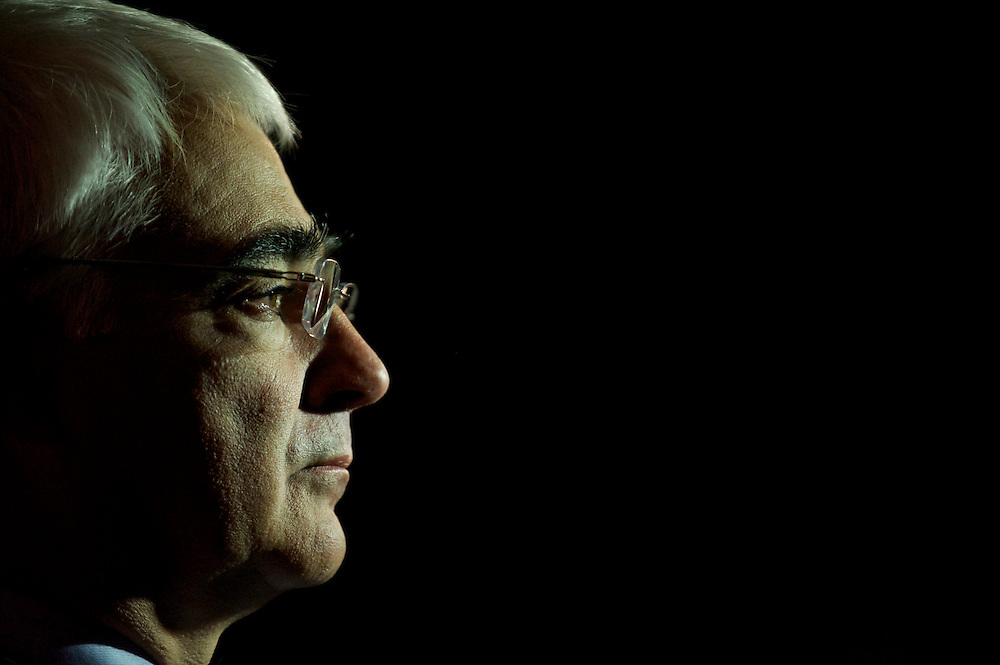 Alistair Darling, Shadow Chancellor of the Exchequer, grants an interview over an afternoon break during the Labour Autumn Conference in Manchester on 27 September 2010.