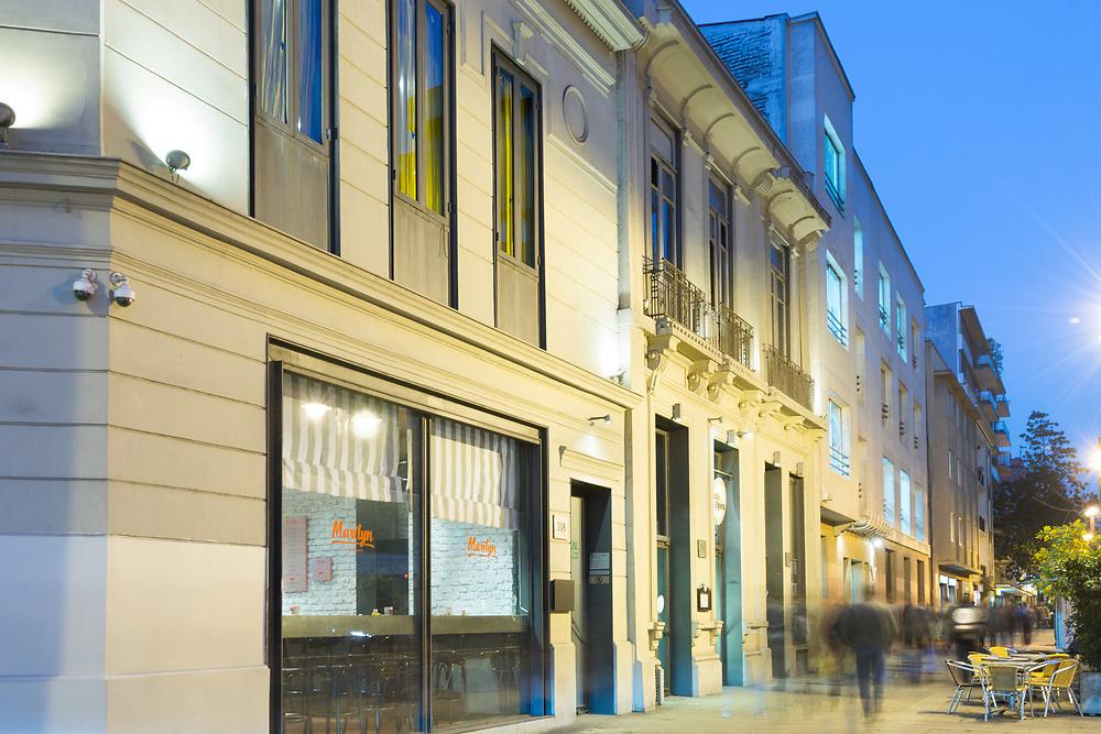 Santiago, Region Metropolitana, Chile - Buildings at traditional Bellas Artes neighborhood in Jose Miguel de la Barra Avenue.