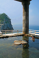 Yunohana Hot Springs, Niijima - Yunohana onsen, located a short walk away from the ferry port, has a series of pleasantly warm pools set into the oceanside rock. Free of charge and a great view of the Pacific Ocean. Hot spring or onsen bathing is a popular form of entertainment and relaxation for the Japanese.