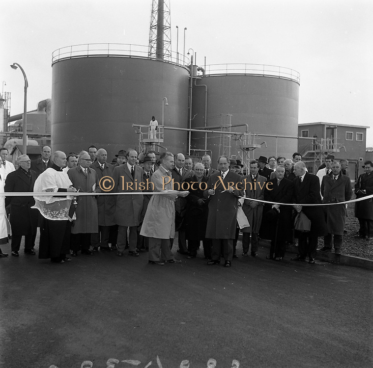 15/01/1962<br /> 01/15/1962<br /> 15 January 1962<br /> Opening of new Sulphuric Acid Plant at Sulphac Ltd., East Wall, Dublin. Minister for Industry and Commerce, Mr Jack Lynch T.D. officially opened the plant. The plant was blessed by V. Rev. Fr. F. Hooke, Parish Priest St. Joseph's,  East Wall. Sulphac Ltd. was jointly owned by W. and H.M. Goulding Ltd. and Freeport Sulphur Company of New York. Picture shows Mr Lynch cutting the tape, officially opening the plant. Also in the Picture are Sir Basil Goulding, Chairman of the Company (holding tape on left) and other directors, officels of the company and guests.