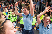 HAMBURG  (Ger) - Match 20,  for FINAL, LMHC Laren - Dinamo Elektrostal (Rus) (3-1).  Photo: European Champion , LMHC Laren.   Maxime Kerstholt (Laren) , Lieke van Wijk (Laren)  Eurohockey Indoor Club Cup 2019 Women . WORLDSPORTPICS COPYRIGHT  KOEN SUYK