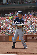 Milwaukee Brewers outfielder Norichika Aoki during pre-batting warmups and during the first inning of the game against the St. Louis Cardinals on Sunday May 19, 2013 at Busch Stadium in St. Louis, MO, USA.