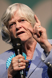 © Licensed to London News Pictures. 21/05/2019. London, UK. Brexit Party candidate Anne Widdecombe speaks on stage ahead of leader Nigel Farage at a European Election rally at Olympia in London. Voters are due to go to the polls in two days. Photo credit: Peter Macdiarmid/LNP