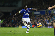 Idrissa Gueye of Everton tries a shot at goal. Premier league match, Everton v Manchester United at Goodison Park in Liverpool, Merseyside on Sunday 4th December 2016.<br /> pic by Chris Stading, Andrew Orchard sports photography.