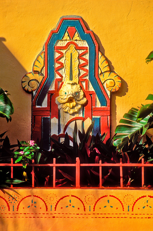 Art Deco bas-relief at the Artists Colony Apartments in Miami Beach's historic South Beach neighbrohood.<br /> .