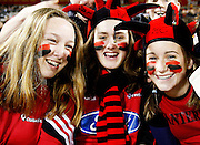 These Canterbury fans have a lot to smile about during the Air New Zealand Cup week 4 Ranfurly Shield match between Canterbury and Southland on Friday August 18, 2006 at Jade Stadium in Christchurch, New Zealand. Canterbury won the game 24-7. Photo: Jim Helsel/Photosport