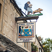 Sign for the historic pub the Butcher's Arms in the village of Sheepscombe in the Cotswolds.