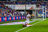 CELE Bournemouth midfielder Philip Billing  (29) celebrates scoring the opening goal with team-mate Jaidon Anthony  (32) during the EFL Sky Bet Championship match between Cardiff City and Bournemouth at the Cardiff City Stadium, Cardiff, Wales on 18 September 2021.