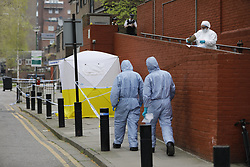 © Licensed to London News Pictures. 21/04/2018. London, UK. The scene in north London where two men were stabbed in the early hours of this morning. Police were called at around 03:00hrs on Saturday, 21 April, to reports of a stabbing on Seven Sisters Road. Officers and London's Air Ambulance attended the scene. A 21-year-old man was found at the scene suffering from stab wounds.<br />