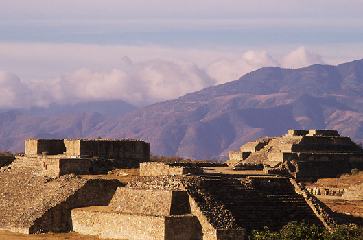 Ancient ruins of Zapotec city of Monte Alban Oaxaca Mexico