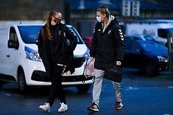 Meaghan Sargeant of Bristol City Women and Yana Daniels of Bristol City Women arrives at Twerton Park prior to kick off - Mandatory by-line: Ryan Hiscott/JMP - 14/11/2020 - FOOTBALL - Twerton Park - Bath, England - Bristol City Women v Tottenham Hotspur Women - Barclays FA Women's Super League